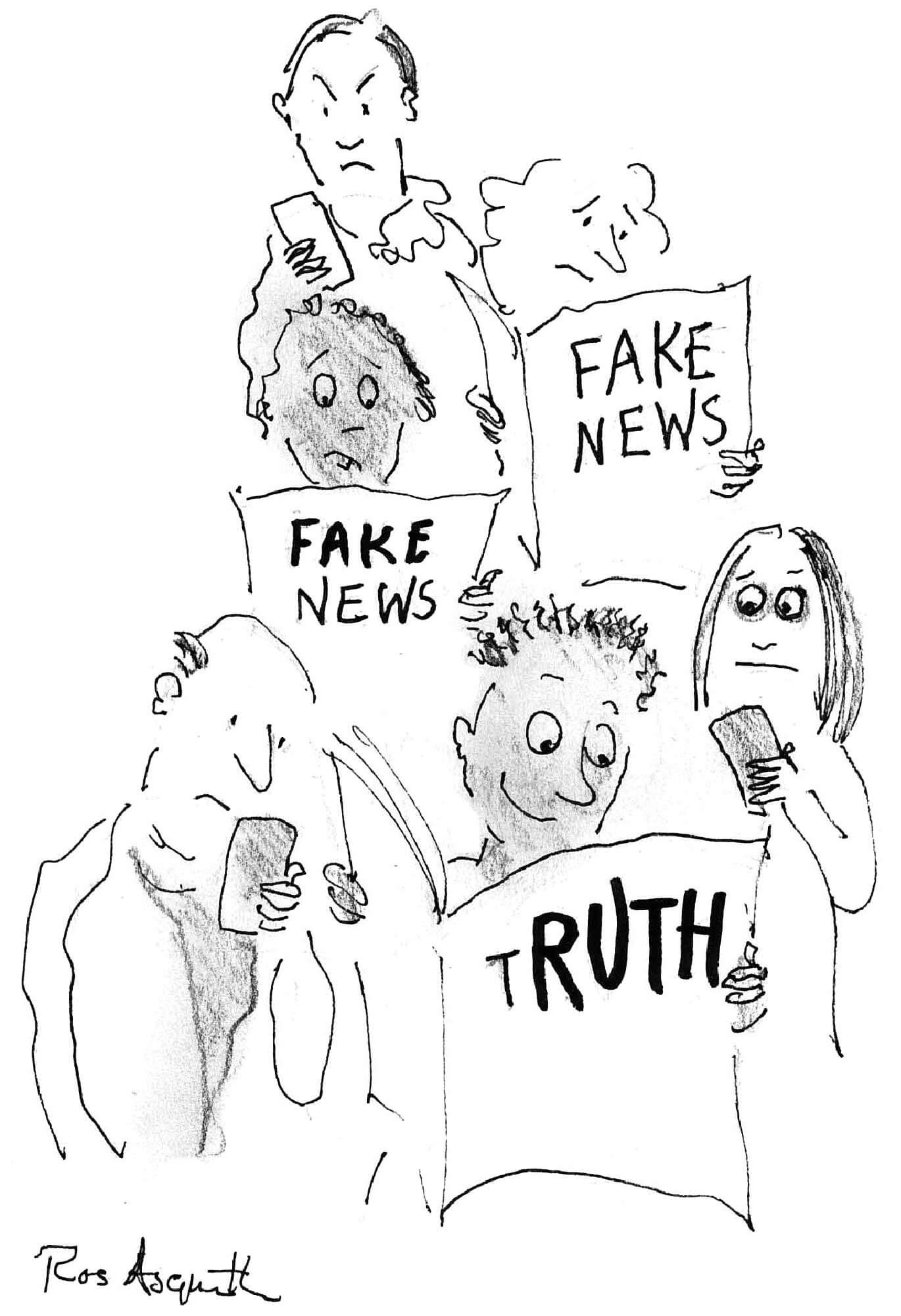 Ruth Whitehead in the Media - illustration of people reading news